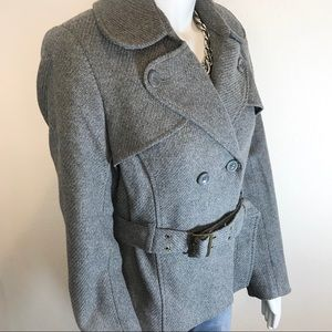 OLD NAVY Gray Double Breasted Pea Coat w/ Belt